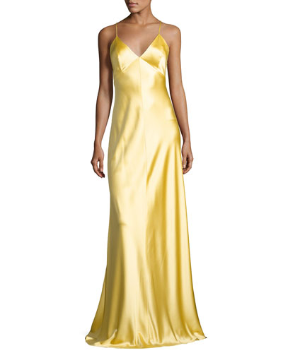 Sleeveless Satin Slip Gown, Yellow