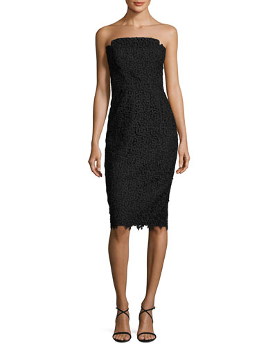 Strapless Floral Lace Cocktail Dress, Black