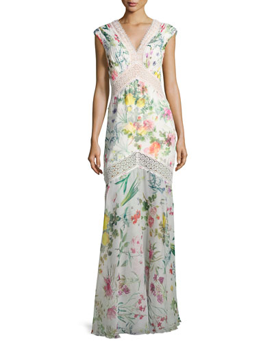 Sleeveless Floral Chiffon Column Gown, White/Multicolor