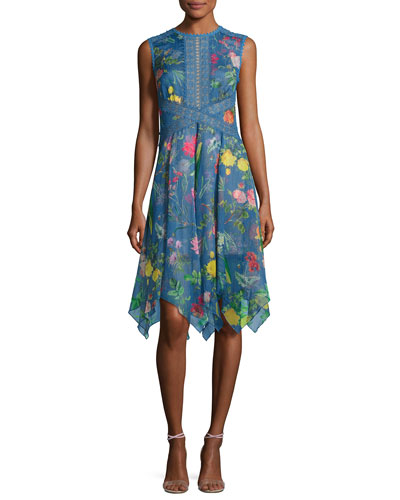 Sleeveless Floral Chiffon Handkerchief Dress, Blue
