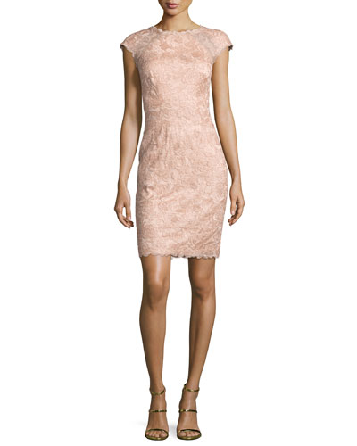 Cap-Sleeve Rose Lace Sheath Dress, Pink