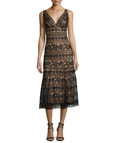 Sleeveless Sequined Lace Midi Cocktail Dress, Black/Natural