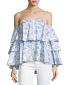 Carmen Off-the-Shoulder Printed Blouse, Blue/White