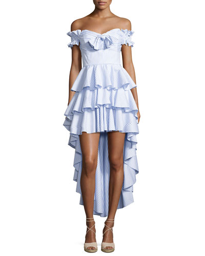 Artemis Off-The-Shoulder Tiered Poplin Dress