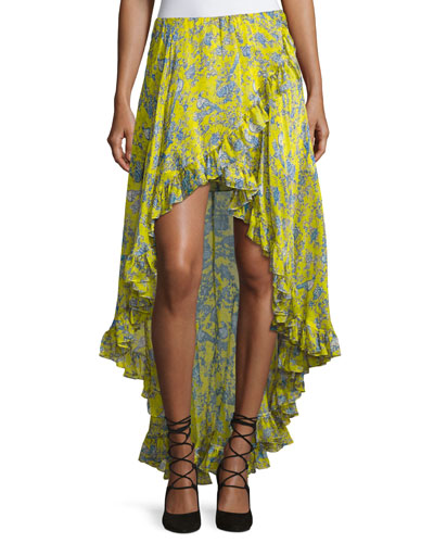 Adelle Layered Ruffle High-Low Skirt, Yellow