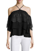 Fleur Tiered Lace Cold-Shoulder Top, Black
