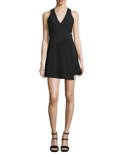 Orion Faux-Wrap Mini Dress, Black