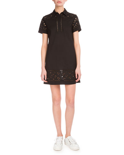 Flying Kenzo Lace & Poplin Dress, Black