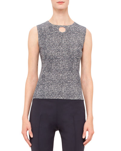 Sleeveless Round-Neck Top W/Cutout, Navy/Cream
