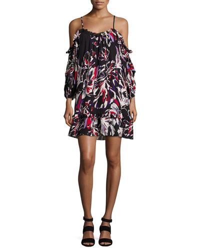 Aidrian Cold-Shoulder Shift Dress, Black Multi