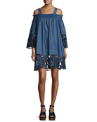 Embroidered Off-the-Shoulder Chambray Dress, Medium Blue
