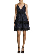 Lace Sleeveless Corset Fit & Flare Dress, Navy
