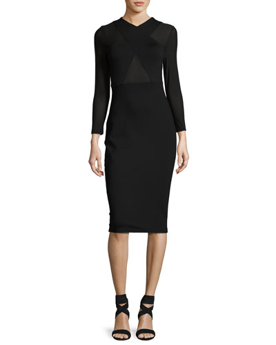 Crossover Long-Sleeve Sheath Dress, Black
