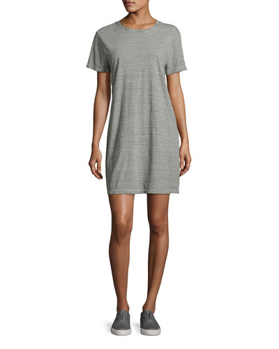 The Beatnik Striped T-Shirt Dress, Gray