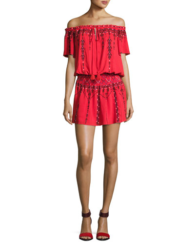 Tammy Embroidered Smocked-Waist Mini Dress, Red