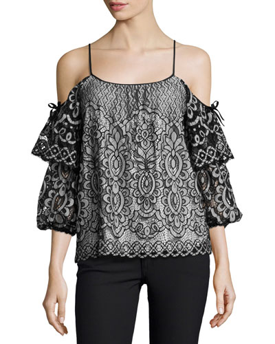 Nikita Cold-Shoulder Lace Blouse, Black