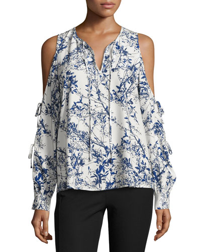 Polly Cold-Shoulder Printed Blouse