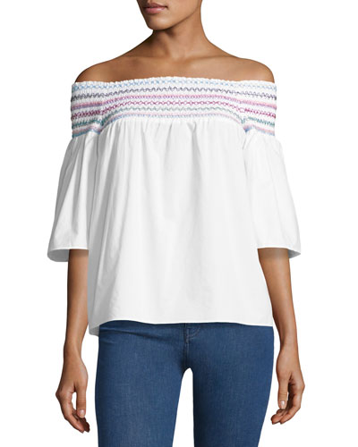 Yasmin Smocked & Embroidered Off-the-Shoulder Blouse, White