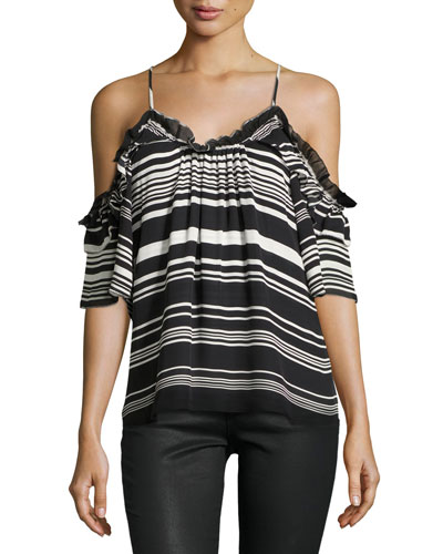 Gabe Striped Cold-Shoulder Top, Black/White