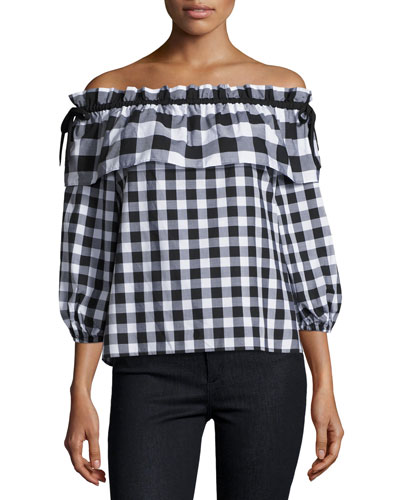 Jenay Gingham Off-the-Shoulder Blouse, Black/White