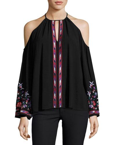 Adelise Embroidered Cold-Shoulder Blouse, Black