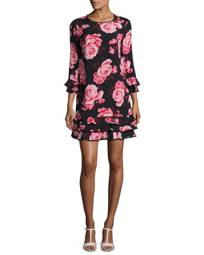 rosa floral tiered ruffle shift dress, multicolor