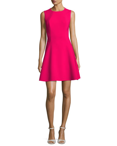 sleeveless stretch crepe fit-and-flare dress, pink