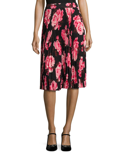 rosa floral pleated chiffon skirt, multicolor
