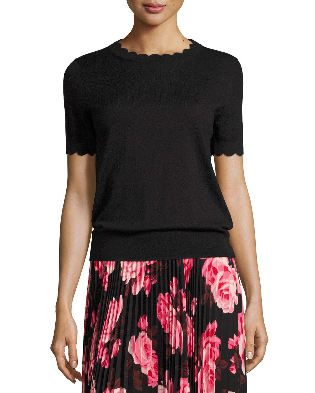 short-sleeve scalloped sweater, black
