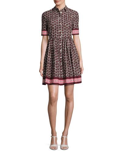 printed poplin a-line shirtdress, brown/multicolor