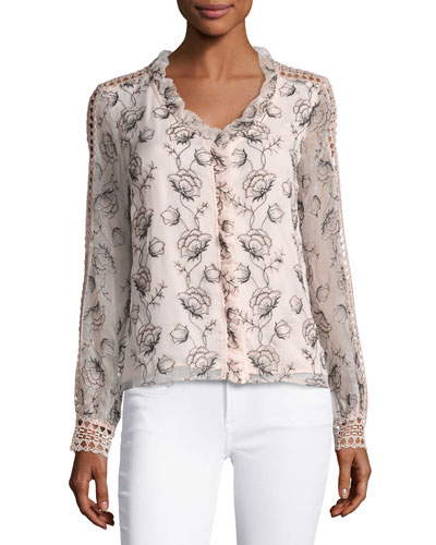 Boticelli Long-Sleeve Floral Voile Blouse, Pink