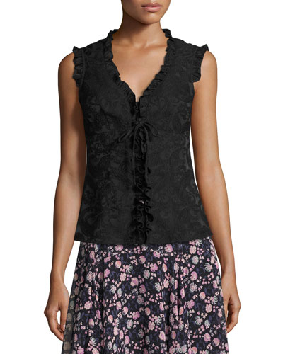Sleeveless Paisley Ruffle-Trim Blouse, Black