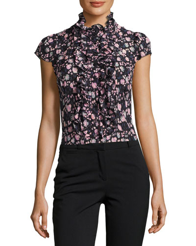 Cap-Sleeve Floral Silk Ruffle-Trim Blouse, Black/Multicolor