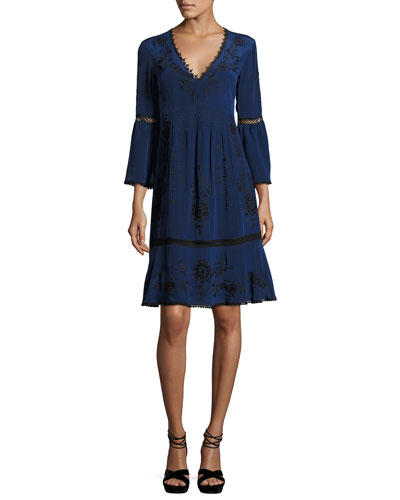 3/4-Sleeve Embroidered Silk Dress, Blue/Black