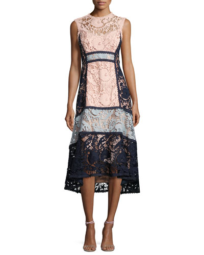 Sleeveless Colorblock Lace Midi Dress, Pink/Blue