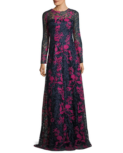 Long-Sleeve Embroidered Floral Lace Gown, Blue/Multicolor