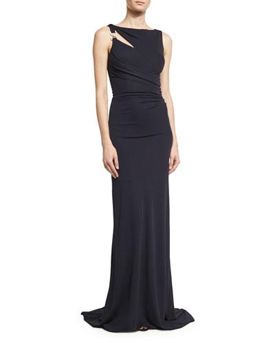 Sleeveless Jersey Column Gown, Dark Navy