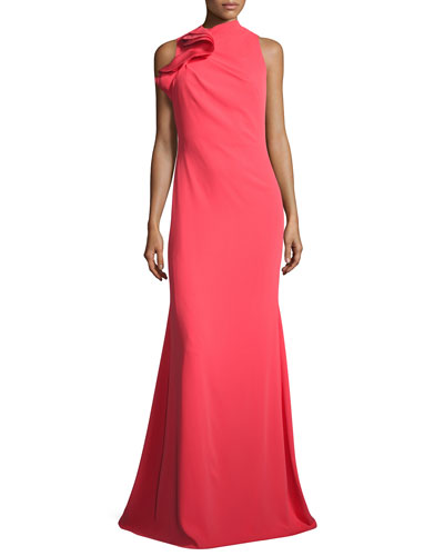 Ruffle-Neck Sleeveless Mermaid Gown, Melon