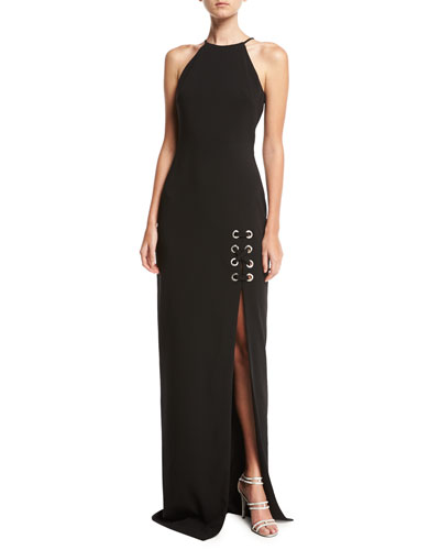 Sleeveless Laced Stretch Crepe Column Gown, Black