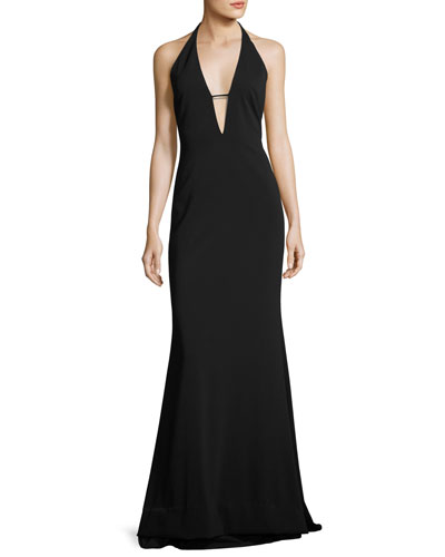 Stretch Crepe Halter Evening Gown, Black
