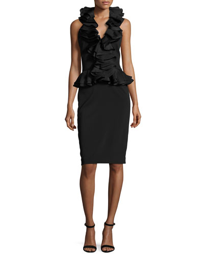Cascade Ruffle Halter Cocktail Dress, Black