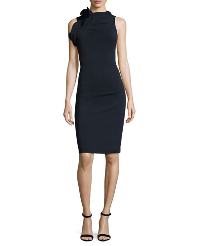 Sleeveless Open-Back Ponte Cocktail Dress, Navy