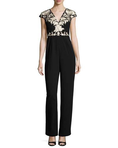 Inka Embroidered Crepe Jumpsuit, Black