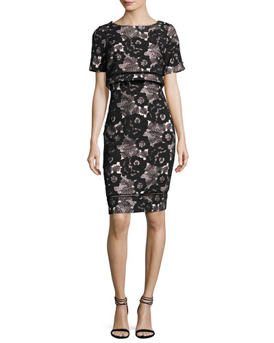 Short-Sleeve Floral Lace Popover Cocktail Dress, Black