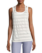 Heroine Sport Striped Racerback Athletic Tank Top, White