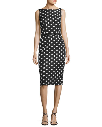 Sleeveless Floral Jacquard Polka-Dot Cocktail Dress, Black