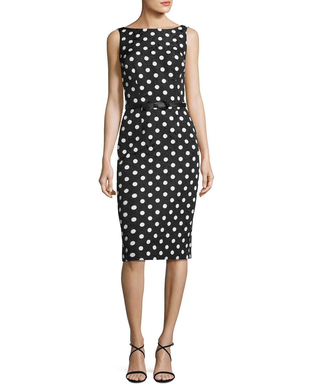Sleeveless Floral Jacquard Polka-Dot Cocktail Dress, Black