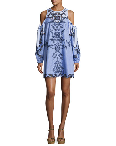 Newton Lace-Trim Cotton Dress, Blue Pattern