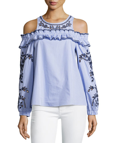 Sammy Cold-Shoulder Striped Eyelet Blouse, Blue