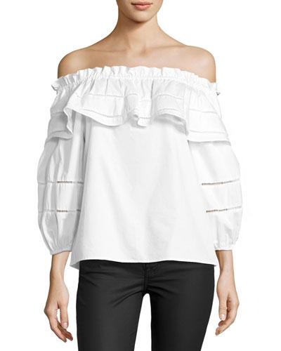 Kiara Off-the-Shoulder Blouse, White